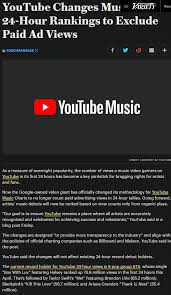 Youtube Changes Music Chart 24 Hour Rankings To Exclude Paid