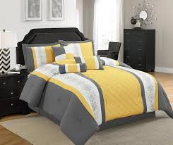 yellow king size comforter. Contemporary Size Amazoncom Legacy Decor 7 Pc Grey Yellow And White Striped Comforter Set  With Embroidered Design King Size Home U0026 Kitchen To Size M