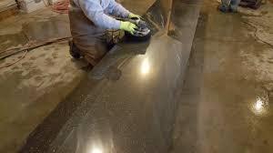 polishing a concrete countertop