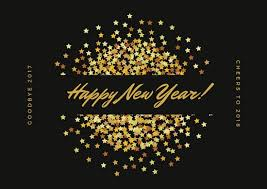 Black Gold Stars Glitter Happy New Year Card Templates By Canva