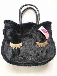 details about nwt luv betsey johnson black faux fur kitty cat shoulder bag tote