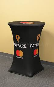 stretch fit spandex 30 inch diameter high boy bistro style cocktail table cover with custom printed