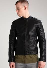 jack jones jcotano123 faux leather jacket black men jack jones hoo