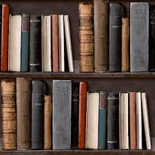 Image is loading Bookshelf-Library-Bookcase-Wallpaper-POB-33-01-6