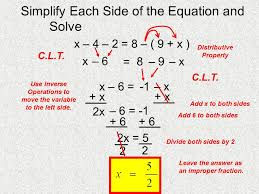simplify each side of the equation and solve x 4 2 8