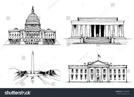 lincoln memorial building clipart. united states capitol building white house washington monument lincoln memorial vector illustration clipart