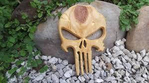 hand carved wood punisher skull gift