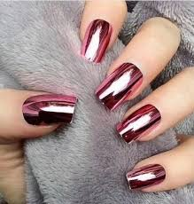 The Perfect Metallic Red Rose Chrome Nails Unknown Official