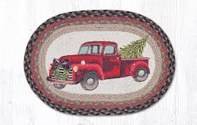 details about red truck 100 natural braided jute placemat 13 x 19 by earth rugs