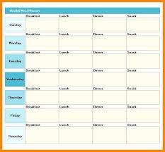 Excel Weekly Meal Planner Weekly Menu Planning Template Printable Meal Plan Excel Planner Food