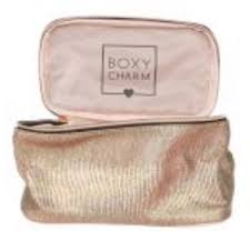 boxycharm holographic gold brown makeup case new