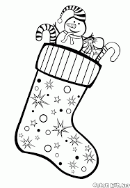 Coloring page - Christmas stockings on the fireplace