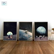 Painted Sky Designs Swings Us 1 82 53 Off Night Sky Art Prints Earth Canvas Posters Surrealism Galaxy Space Moon Canvas Painting Swing Cosmic Wall Pictures Sci Fi Decor In