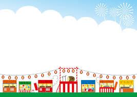 フリーイラスト お祭りの屋台と祭り櫓の背景でアハ体験 Gahag 著作