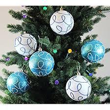 Festive Season Winter Turquoise Swirl Shatterproof Christmas Ball Ornaments,  Tree Decorations (Set of 6