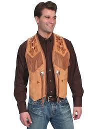 mens scully bourbon boar indian fringe western vest
