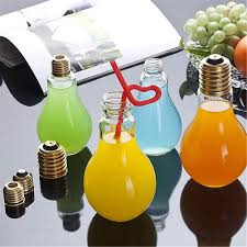 Light Bulb Drink Bottle 400ml Cute Bulb Water Bottle Brief Fashion Milk Juice Light Bulbs Leak Proof Light Lamp Creative Juice Tea Drink