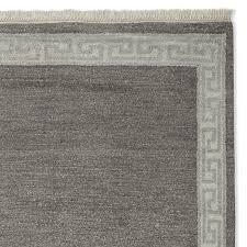 greek key border hand knotted rug grey