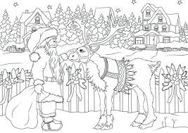 Santa And Reindeer Coloring Page O9923 The Red Nose Reindeer