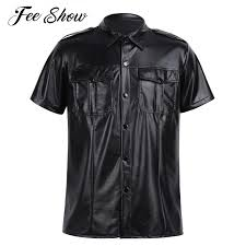 black y mens soft faux leather uniform shirt tops with snap down collar novelty and stylish short sleeve uniform shirt t shirt shirts