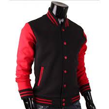 baseball letterman red and black varsity jacket