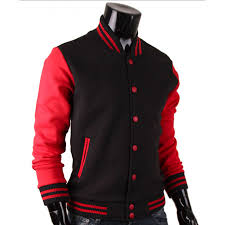 baseball letterman red and black varsity jacket