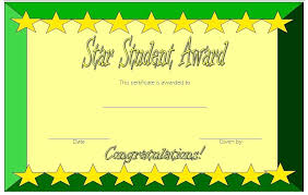 Star Of The Month Certificate Template Star Student Template Kindergarten Free Printable Of The Month