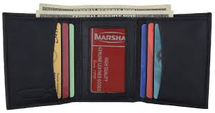 Tri Fold Window Details About Real Lambskin Leather Black Id Mens Window Thin Plain Trifold Wallet New Nwt
