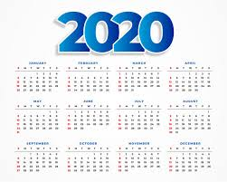 Clean 2020 Calendar Template Design Vector Free Download