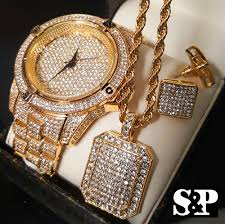 mens gold diamond watch men hip hop iced out gold pt lab diamond watch necklace earrins combo set