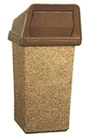 picture of 22 gallon concrete trash can bonnet push door top liner