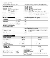 sample loan estimate template pdf