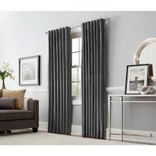 allen + roth Burgett 84-in Dark Gray Velvet Back Tab Light Filtering Single  Curtain