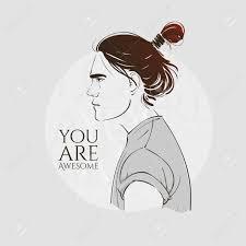 長い髪のハンサムな若い男流行に敏感な髪型ちょんまげベクトルの
