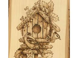 Pyrography Patterns Delectable Winter Birdhouse Woodburning Tutorial First Steps Pyrography Online