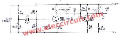 fm wireless microphone circuit diagram eleccircuit com two transistors fm wireless microphone circuit