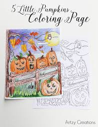 5 little pumpkin coloring page artzy creations 3