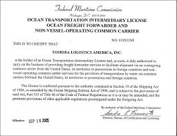 Certifications Toshiba Logistics America Inc