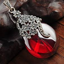 925 sterling silver retro waterdrop red garne with marcasite necklace pendant women thai silver fine jewelry gift ch029173 jewelry market