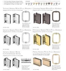 frameless shower door hinge and pull handle or knob sets