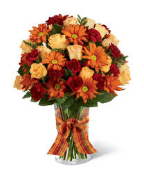 Fall flowers delivered in a glass vase, beautiful Thanksgiving flower  arrangement.