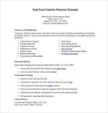 Fast Food Resume Sample Cashier Examples Experience Picture