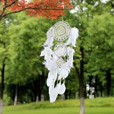 white lace flower <b>dreamcatcher</b> wind chimes <b>indian</b> style <b>feather</b> ...