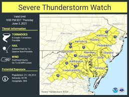 Severe thunderstorm watch issued for 19 ...
