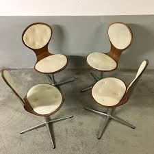 Vintage Set Of 4 Swivel Plywood Chairs By Elmar Flötotto 1960s