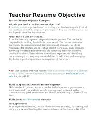 Sample Resume For Teachers Custom Objective For Resume Teacher Arzamas