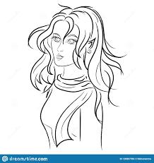 красивый эльф девушки в современных одеждах с Disheveled волосами