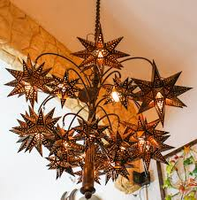 punched tin pendant light stars chandelier el callejon art and glass hanging punched tin pendant light