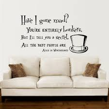 Alice In Wonderland Wall Decal Quote Vinyl Sofa Wall Sticker Decals Classy Wall Decals Quotes