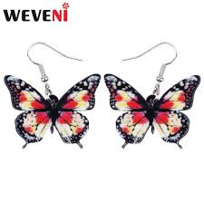 <b>WEVENI Acrylic Unique</b> Floral Butterfly Insect Earrings Big Dangle ...